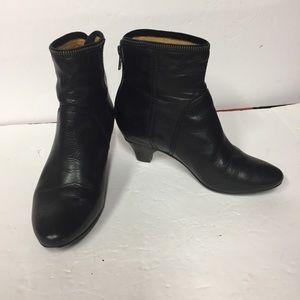 Frye Steffi Black Leather Short Zip Ankle Boots